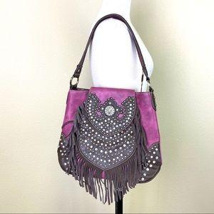TRINITY RANCH Leather Glam Bag in Raspberry NWT!
